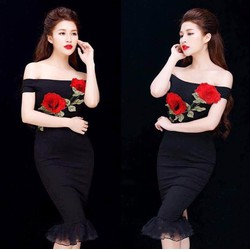 Đầm ôm body thiết kế đính hoa