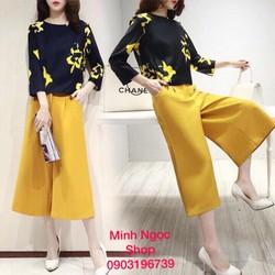 Sét quần ống rộng áo in hoa vàng