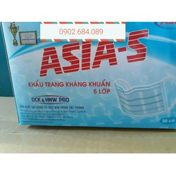 Khẩu trang y tế kháng khuẩn ASIA 5 lớp - Hộp 50 cái
