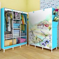 Tủ vải quần áo kiểu dáng 3D 3 buồng 8 ngăn