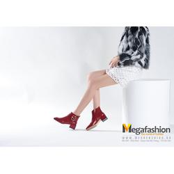 Giày nữ Ankle boot da cổ ngắn có đai bản to - Megafashion