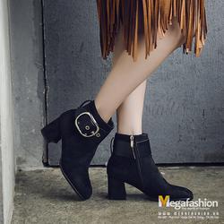 Giày nữ Ankle boot cổ ngắn da lộn có belt phối khóa kéo - Megafashion