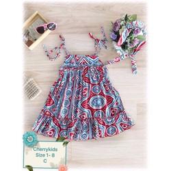 Đầm 2 dây kèm băng đô dễ thương cho bé yêu 1-8 tuổi