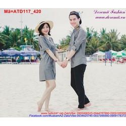 Set áo váy cặp tình nhân đơn giản trẻ trung đáng yêu ATD117