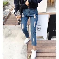 quần jeans dài rách lưng thun Mã: QD1322