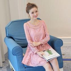 Đầm bầu phối ren thời trang nữ Hàn Quốc 2017 - BA6169
