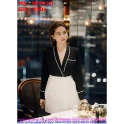 Sét áo kiểu xẻ cổ V viền trắng phối chân váy xòe thời trang SEV410