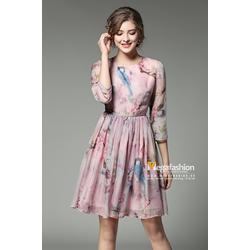 Váy đầm lụa mùa xuân họa tiết hoa đào và chim thanh lịch - Megafashion