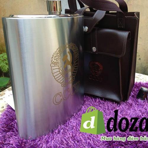 Bình đựng rượu inox 3,8lít, 128oz, loại cao cấp - túi da hộp xịn