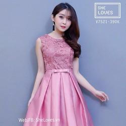 SALE KHỦNG-ĐẦM XÒE NỮ PHỐI REN HÓT-J3120