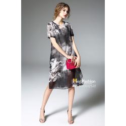 Váy suông họa tiết xẻ tà xuyên thấu kèm váy lụa 2 dây - Megafashion