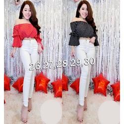 Set nguyên bộ áo bi cúp ngực quần jean trắng - SET776
