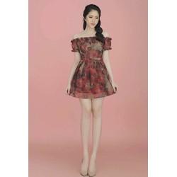 Đầm Voan Xòe Trễ Vai Họa Tiết Hoa 3D