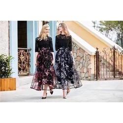 Hàng nhập cao cấp - Đầm Xoè Ren Phối Chân  Váy Hoa