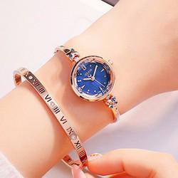 Đồng hồ nữ JULIUS Hàn Quốc đính đá sang trọng JU1084 Đồng mặt xanh
