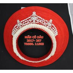 Mấn cô dâu 35 tầng đính kèm vòng hạt trai và vương miện trắng
