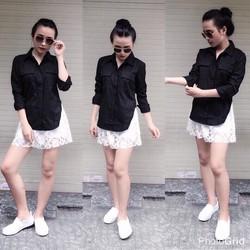 Set áo sơmi xẻ tà quần short ren _MỎ CHU SHOP