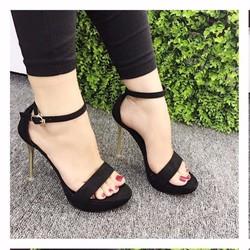 giày gót vàng mũi đúp cao 12cm