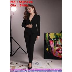 Sét áo kiểu dạng vest và quần ống ôm thời trang SQV326