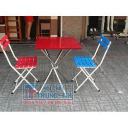Bộ bàn ăn 2 ghế Vuông 60 Đỏ