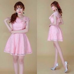 Đầm ren Quảng Châu lệch vai, dáng xòe kèm cài áo cực xinh DQC036
