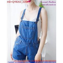 Quần yếm Jean nữ đơn giản trẻ trung năng động QYB263