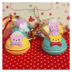 Móc khóa Squishy bánh Macaron gấu Rilakkuma