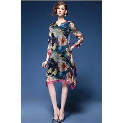 Đầm suông họa tiết hoa lai phối bèo