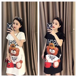 Đầm thun in gấu 3d siêu cute