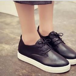 Giày oxford da trơn cổ ngắn đế thấp màu đen
