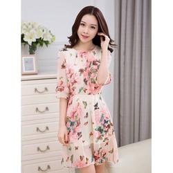 Đầm Xoè Hoa Tiết Bướm
