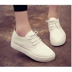 Giày oxford da trơn cổ ngắn đế thấp màu trắng