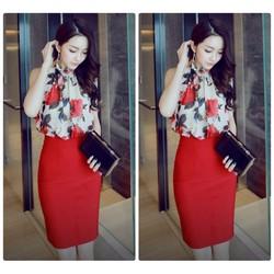 Set váy áo yếm hoa hồng cao cấp
