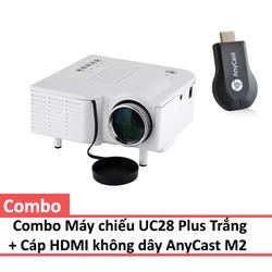 Bộ Máy chiếu UC28 Plus Trắng và Cáp HDMI Không dây AnyCast M2 Plus