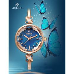 HOT Đồng hồ nữ JULIUS Hàn Quốc đính đá sang trọng JU1084 Đồng mặt xanh