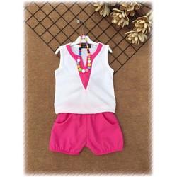 Set áo linen cổ v dễ thương cho bé gái 1 - 8 tuổi