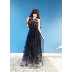 Đầm Maxi Cổ Yếm Lưới Kim Tuyến