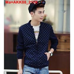 Áo khoác nỉ nam màu xanh dương phối chấm bi đỏ thời trang AKK88
