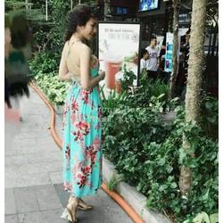 Đầm maxi hoa cúp ngực hở lưng đan dây