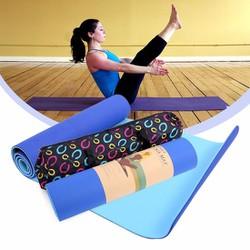 Thảm tập yoga 6mm 2 lớp - Xanh dương - Tặng túi thời trang