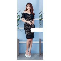 Đầm body ren trễ vai viền đen bèo xinh xắn