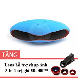 Loa Mini Bluetooth X6U Xanh Dương và Lens hỗ trợ chụp hình 3 trong 1