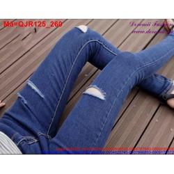 Quần Jean nữ rách lưng cao 1 nút trẻ trung bụi bặm QJR125