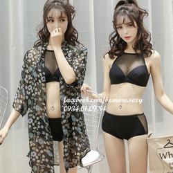 Đồ bơi bikini nữ viền lưới kèm áo khoác kimono