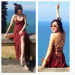 Đầm Maxi đỏ sọc trắng - Chuyên hàng Quảng Châu chính gốc giá tốt