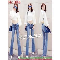 Quần jean nữ dài kiểu ống loe hàng thái cao cấp QJL6