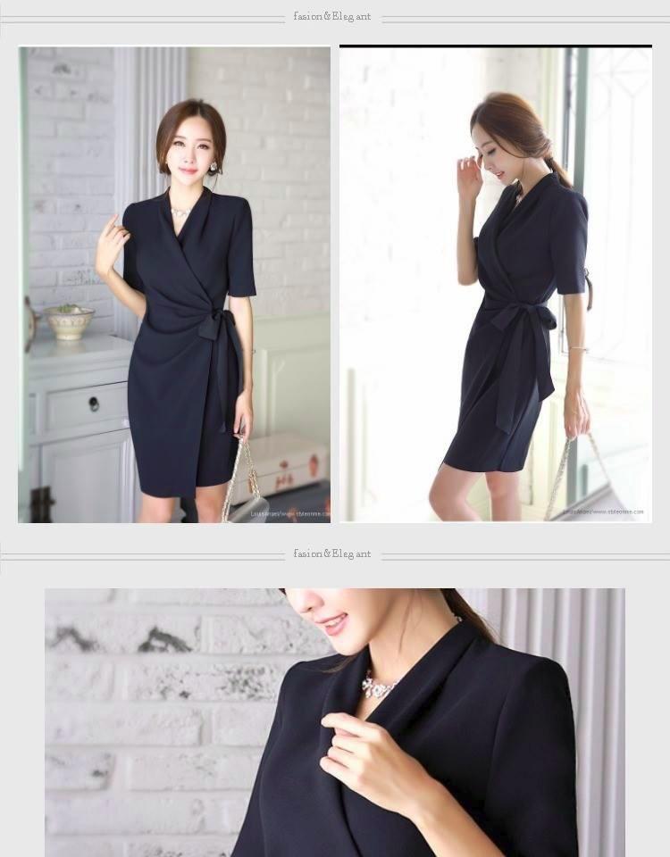Đầm vạt lệch cột eo nơ 2