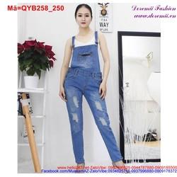 Quần yếm jean nữ dài xước wash nhẹ trẻ trung QYB258 View 250,000