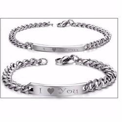 Lắc tay inox cặp đôi I Love You - LT207
