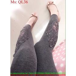 Quần legging nữ xám phối ren hoa nổi sành điệu QL36